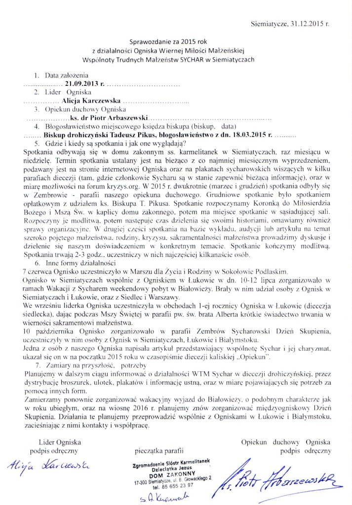 Sprawozdanie 2015 Siemiatycze